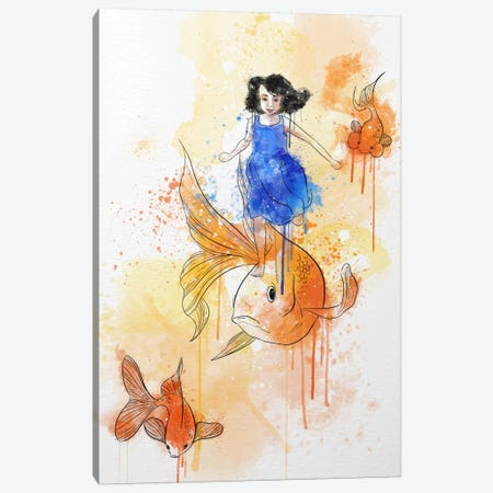 Koi and Young Girl Canvas Print #ICA232} by Unknown Artist Art Print
