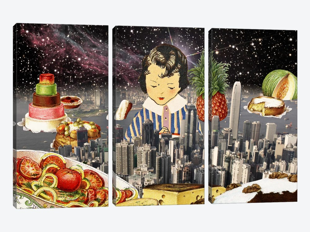 City Under the Stars by iCanvas 3-piece Canvas Art Print