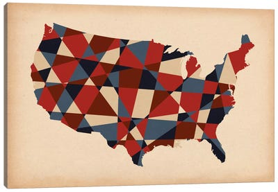 Geometric Red, White, and Blue Canvas Print #ICA238