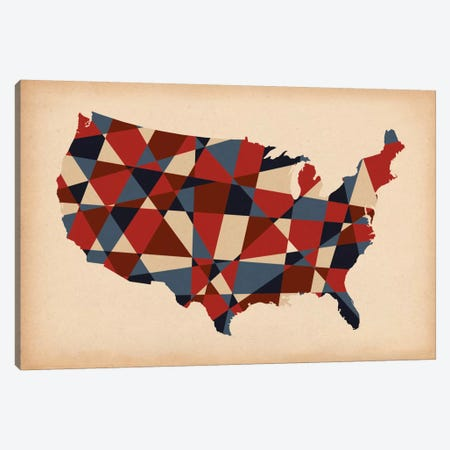 Geometric Red, White, and Blue Canvas Print #ICA238} by Unknown Artist Art Print