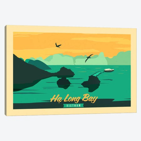Ha Long Bay, Vietnam Vintage Travel Poster Canvas Print #ICA253} by Unknown Artist Canvas Art Print