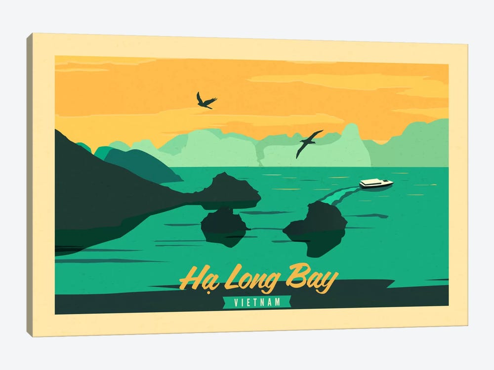 Ha Long Bay, Vietnam Vintage Travel Poster by Unknown Artist 1-piece Art Print