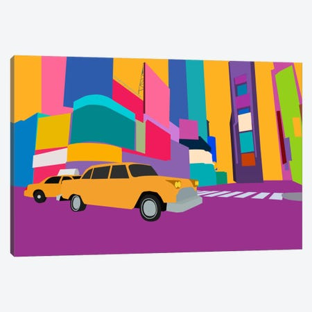 Neon Block NYC Taxi Canvas Print #ICA254} by Unknown Artist Canvas Wall Art
