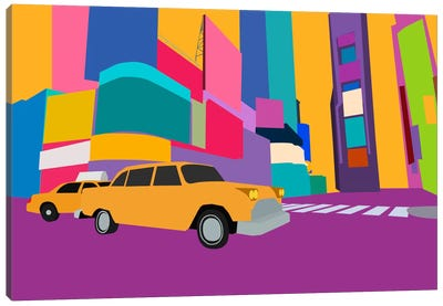 Neon Block NYC Taxi Canvas Art Print