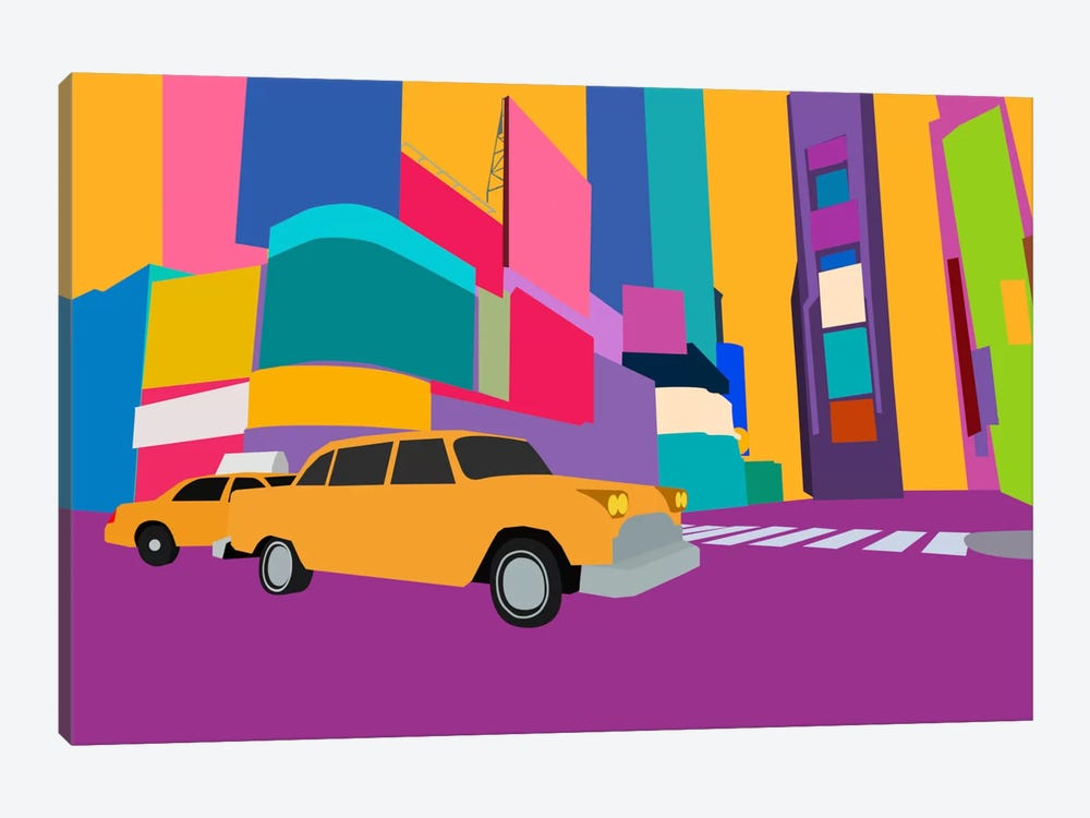 Neon Block NYC Taxi by Unknown Artist 1-piece Canvas Wall Art