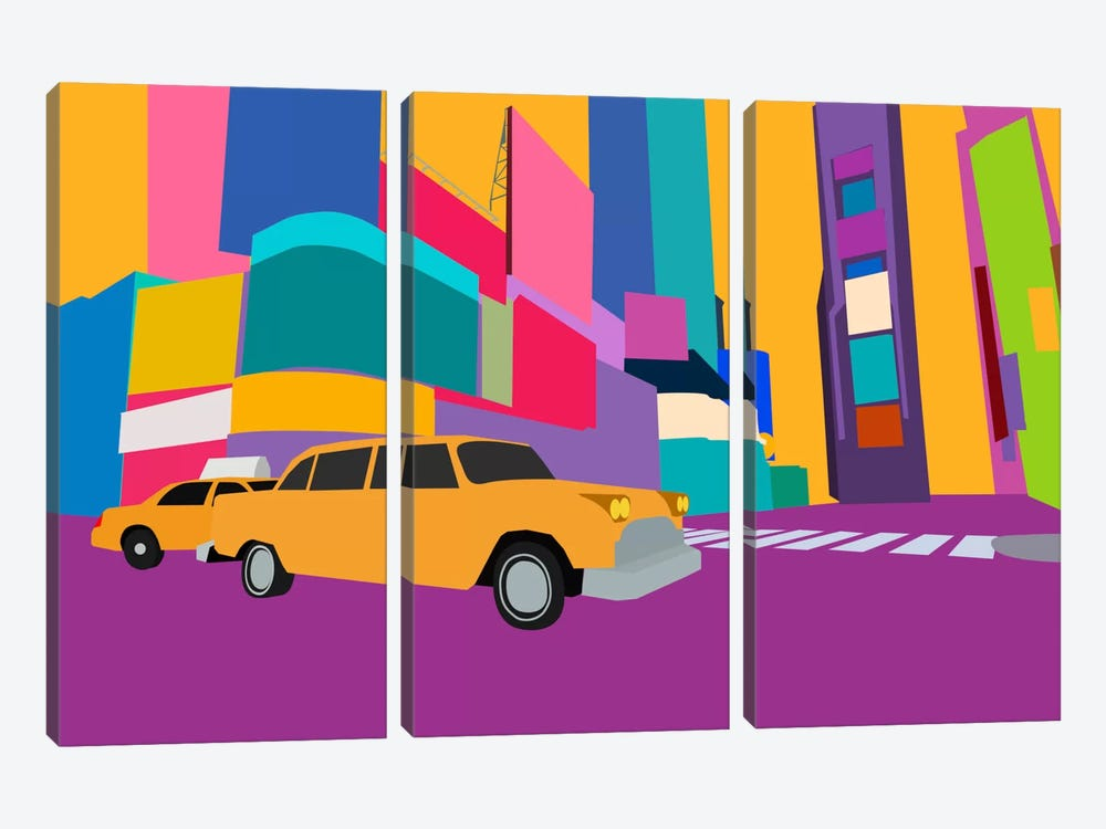 Neon Block NYC Taxi by Unknown Artist 3-piece Canvas Wall Art