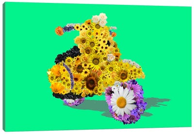 Flower Vespa Canvas Art Print