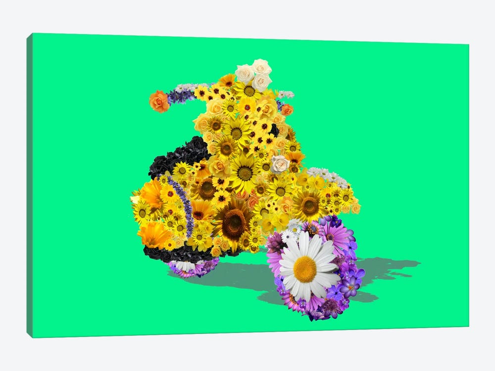 Flower Vespa by Unknown Artist 1-piece Canvas Art Print