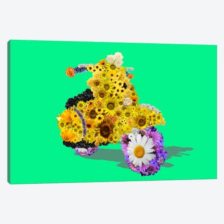 Flower Vespa Canvas Print #ICA257} by Unknown Artist Canvas Wall Art