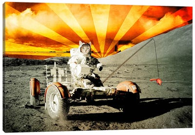 Cat Moon Rover Canvas Print #ICA25