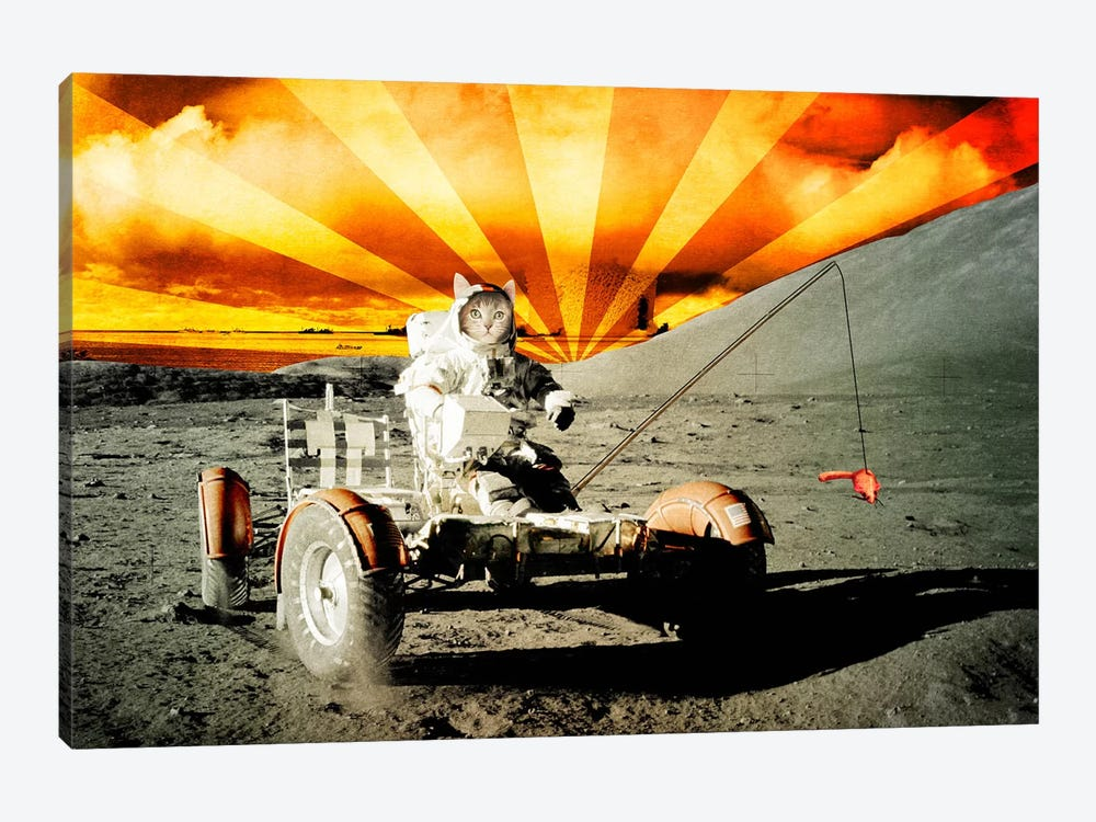 Cat Moon Rover by iCanvas 1-piece Canvas Print