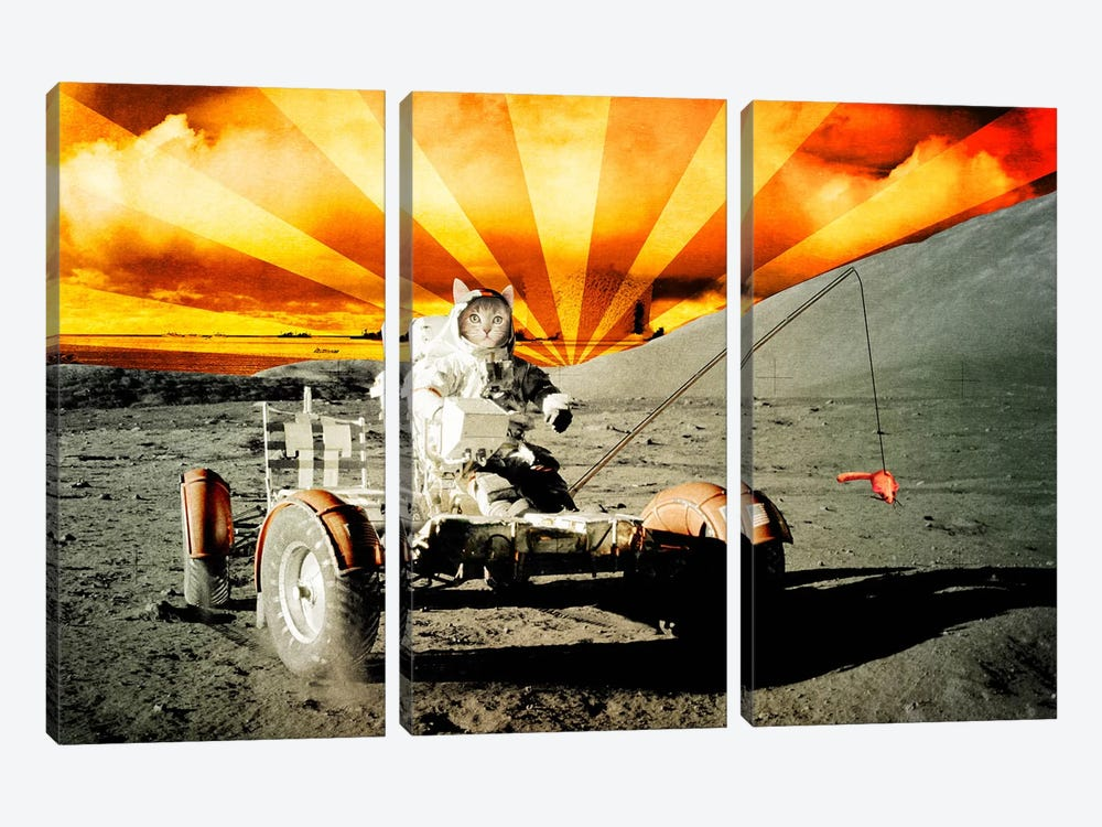 Cat Moon Rover 3-piece Canvas Art Print