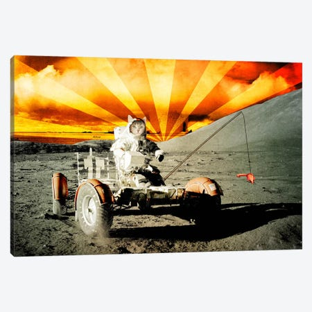 Cat Moon Rover Canvas Print #ICA25} by Unknown Artist Canvas Artwork