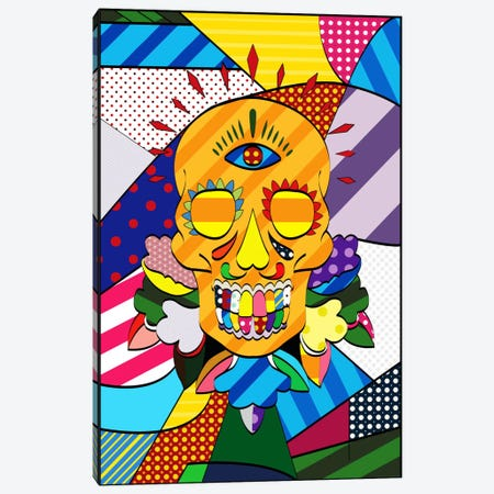 Sugar Skull Comic Art Canvas Print #ICA261} by Unknown Artist Canvas Art