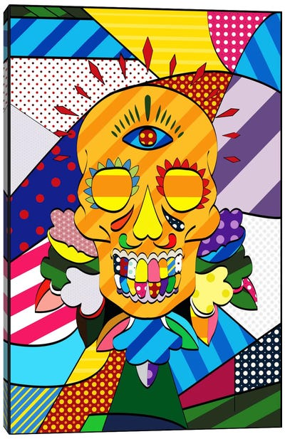 Sugar Skull Comic Art Canvas Art Print