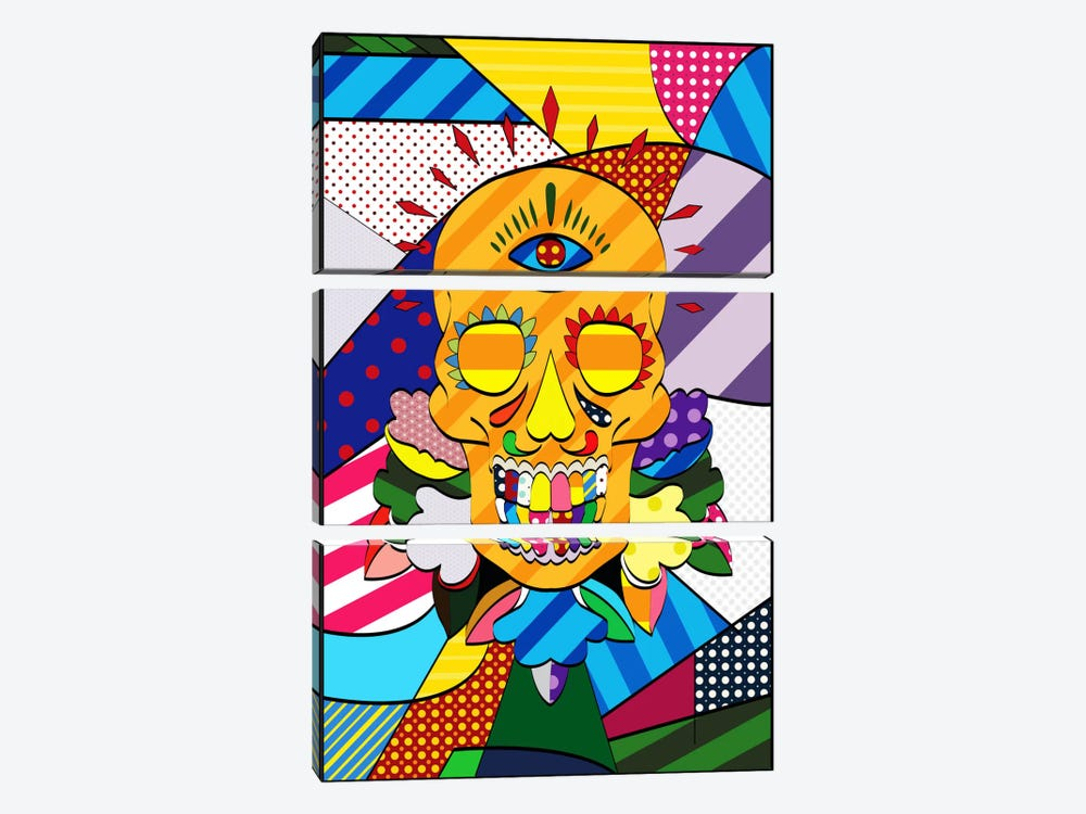 Sugar Skull Comic Art by iCanvas 3-piece Canvas Wall Art