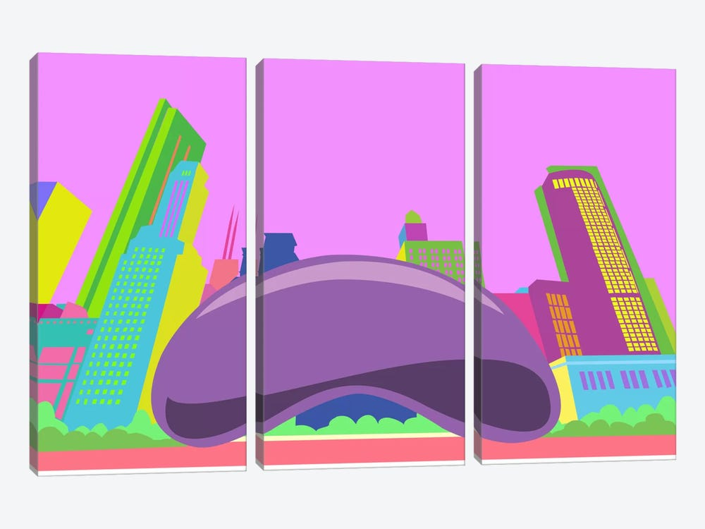 The Bean Pop Art (Chicago) by iCanvas 3-piece Canvas Artwork