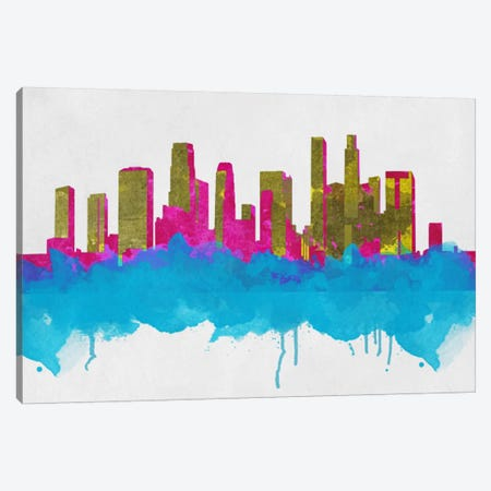 Goldleaf Watercolor Cityscape Canvas Print #ICA275} by Unknown Artist Canvas Artwork