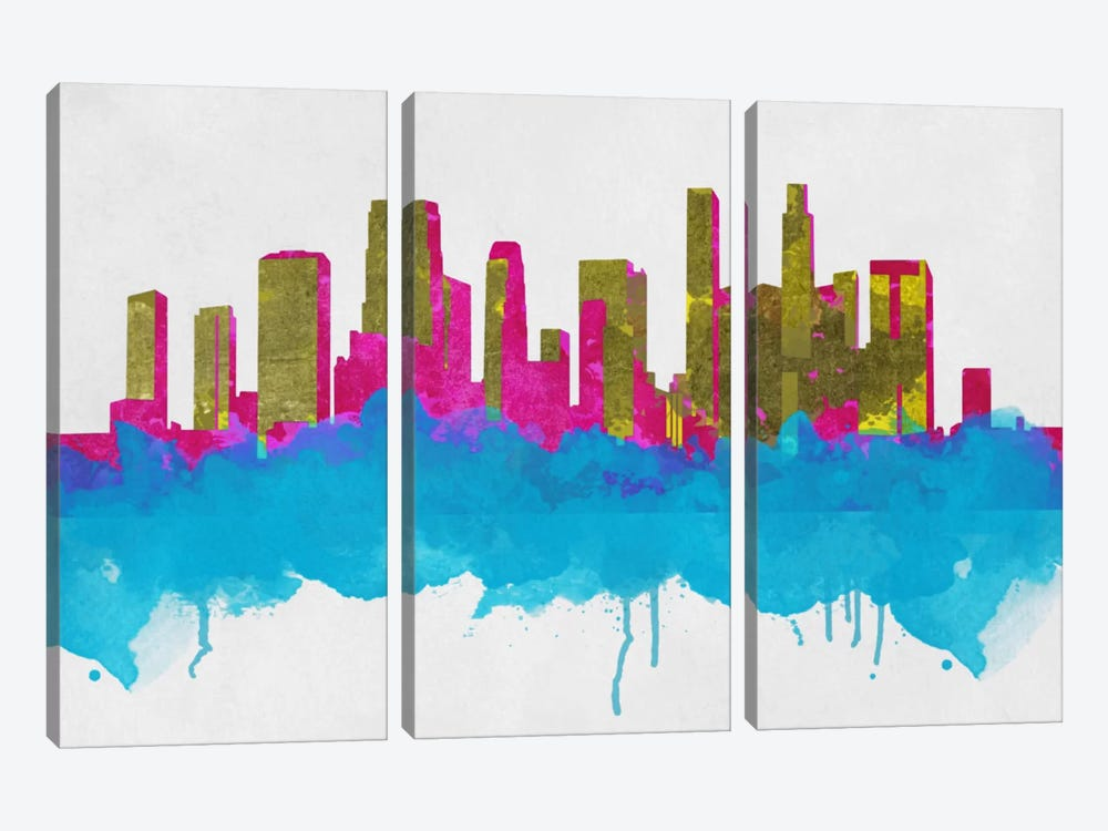 Goldleaf Watercolor Cityscape by Unknown Artist 3-piece Canvas Art Print