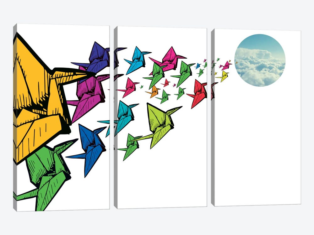 Origami Swans by iCanvas 3-piece Canvas Print