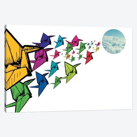 Origami Swans Canvas Print #ICA295} by Unknown Artist Canvas Wall Art