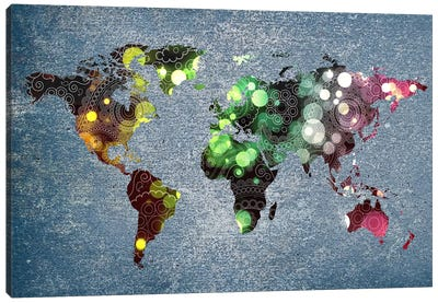 Tribal Swirl Patten World Map Canvas Print #ICA301