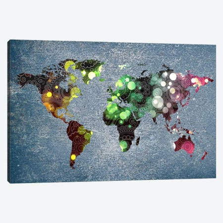 Tribal Swirl Patten World Map Canvas Print #ICA301} by Unknown Artist Art Print