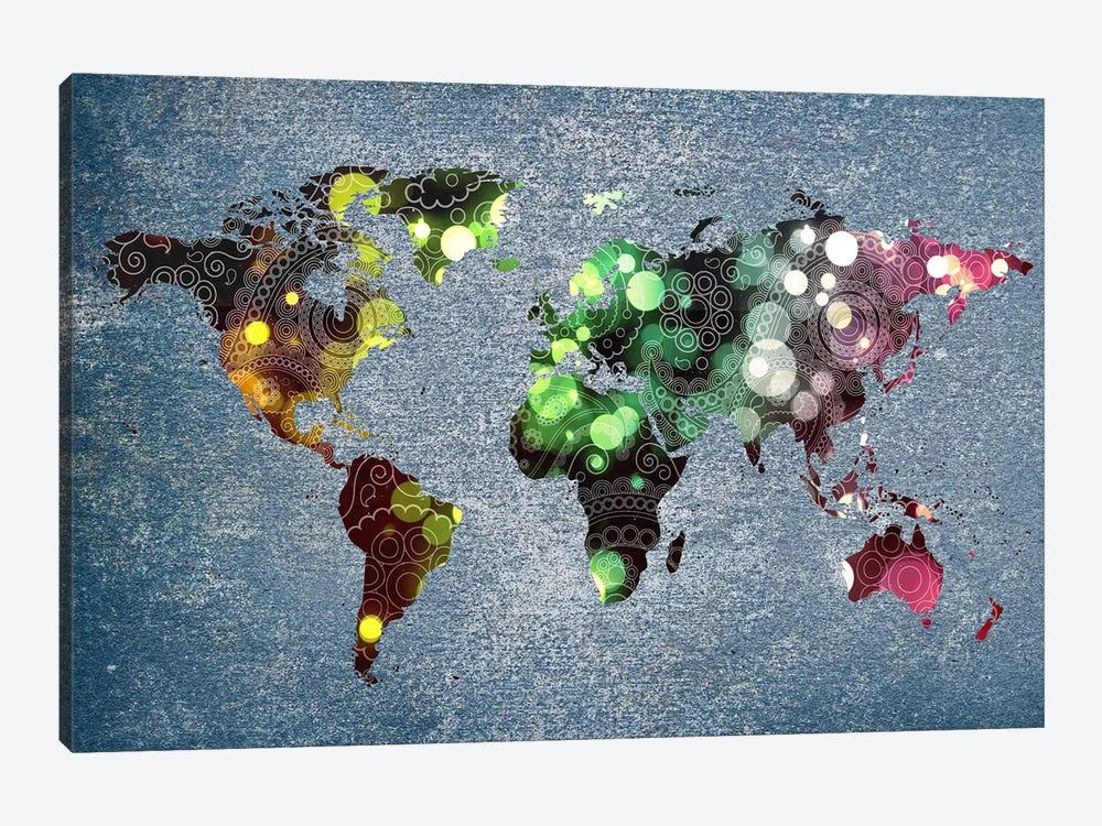 Tribal Swirl Patten World Map by Unknown Artist 1-piece Canvas Art Print