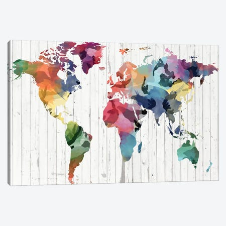 Wood Watercolor World Map Canvas Print #ICA302} by iCanvas Canvas Art Print