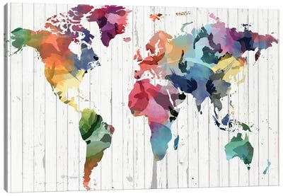 Wood Watercolor World Map Canvas Print #ICA302