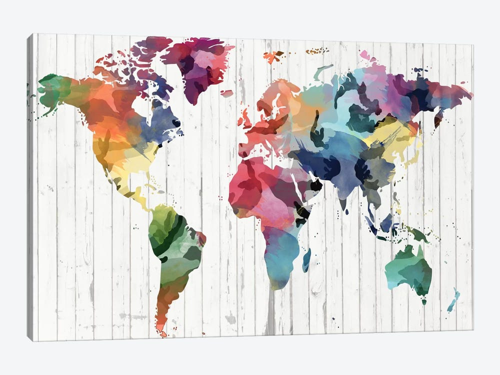 Wood Watercolor World Map by Unknown Artist 1-piece Canvas Artwork