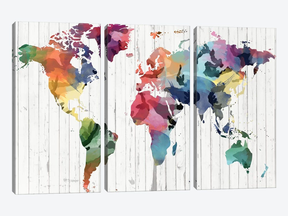 Wood Watercolor World Map by iCanvas 3-piece Canvas Artwork