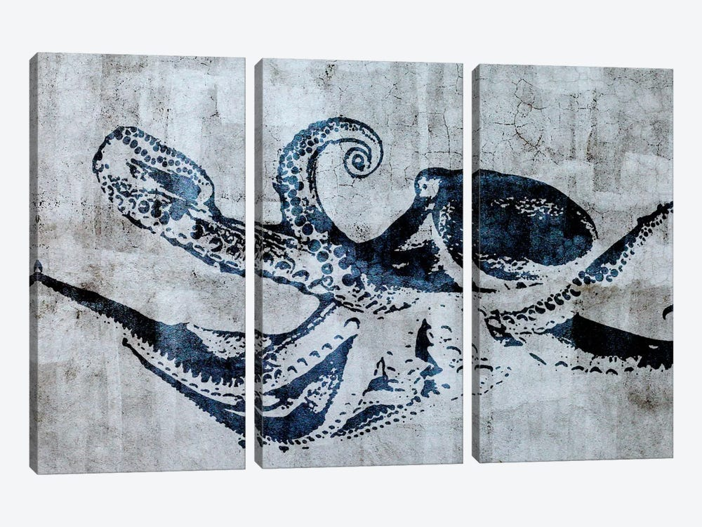 Stencil Street Art Octopus by 5by5collective 3-piece Art Print
