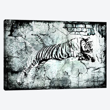 Stencil Street Art Tiger Canvas Print #ICA304} by 5by5collective Canvas Wall Art