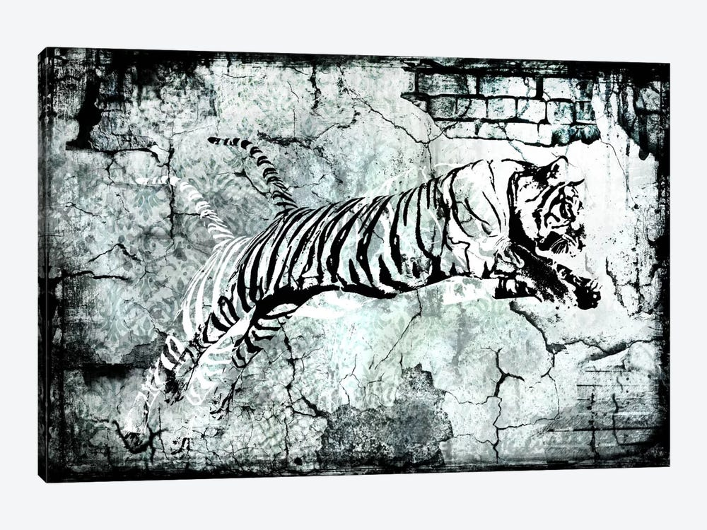 Stencil Street Art Tiger 1-piece Canvas Artwork