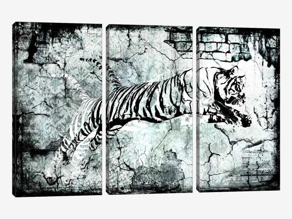 Stencil Street Art Tiger 3-piece Canvas Art