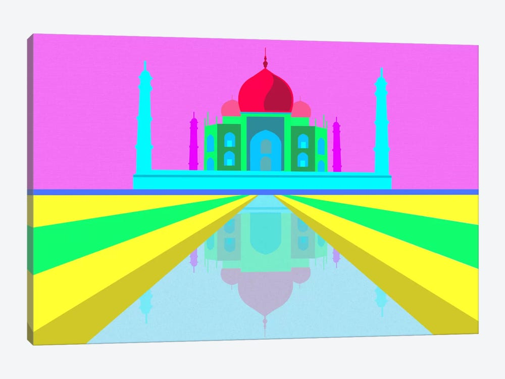 Neon Taj Mahal by Unknown Artist 1-piece Canvas Artwork