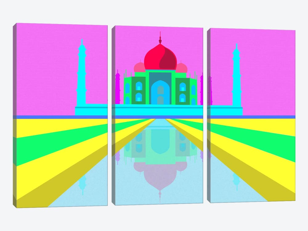 Neon Taj Mahal by iCanvas 3-piece Canvas Artwork