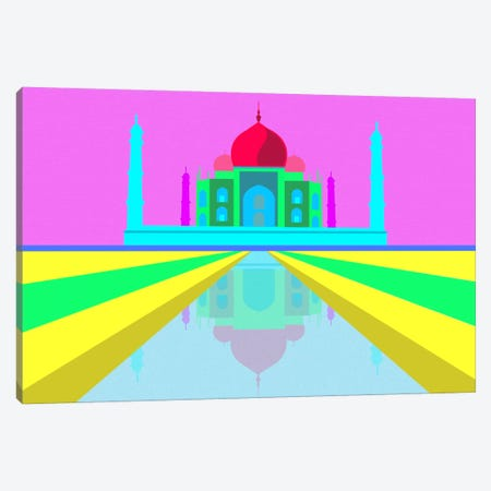 Neon Taj Mahal Canvas Print #ICA311} by Unknown Artist Canvas Wall Art
