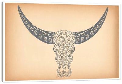 Longhorn Sugar Skull Canvas Print #ICA343