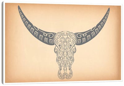 Longhorn Sugar Skull Canvas Art Print