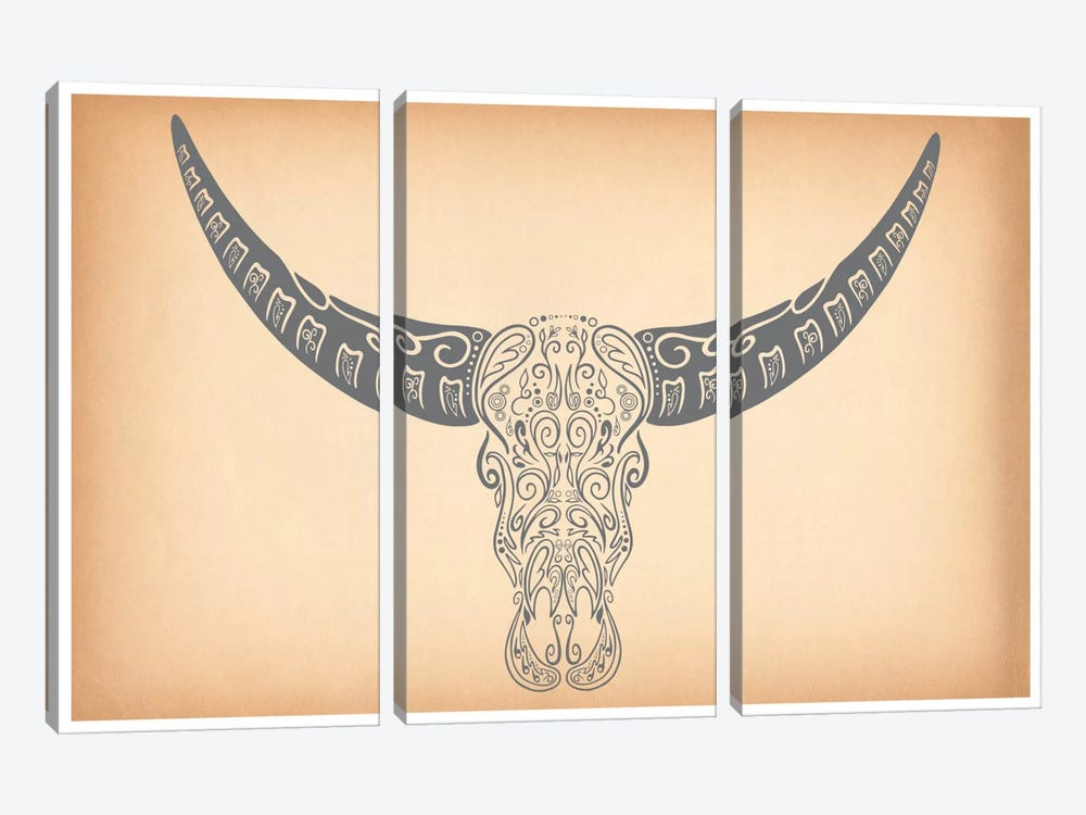 Longhorn Sugar Skull by iCanvas 3-piece Canvas Print