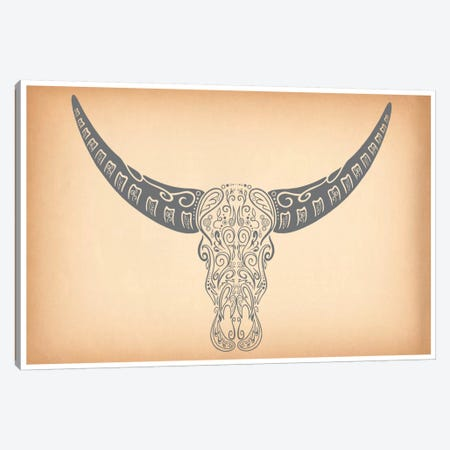 Longhorn Sugar Skull Canvas Print #ICA343} by Unknown Artist Art Print