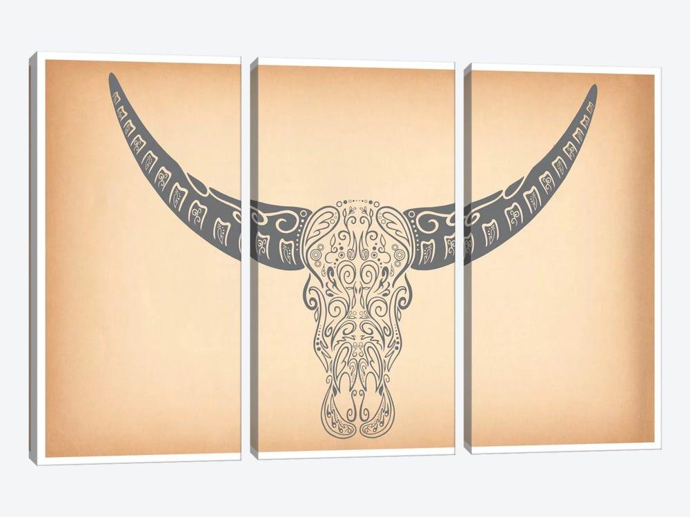 Longhorn Sugar Skull by Unknown Artist 3-piece Canvas Print