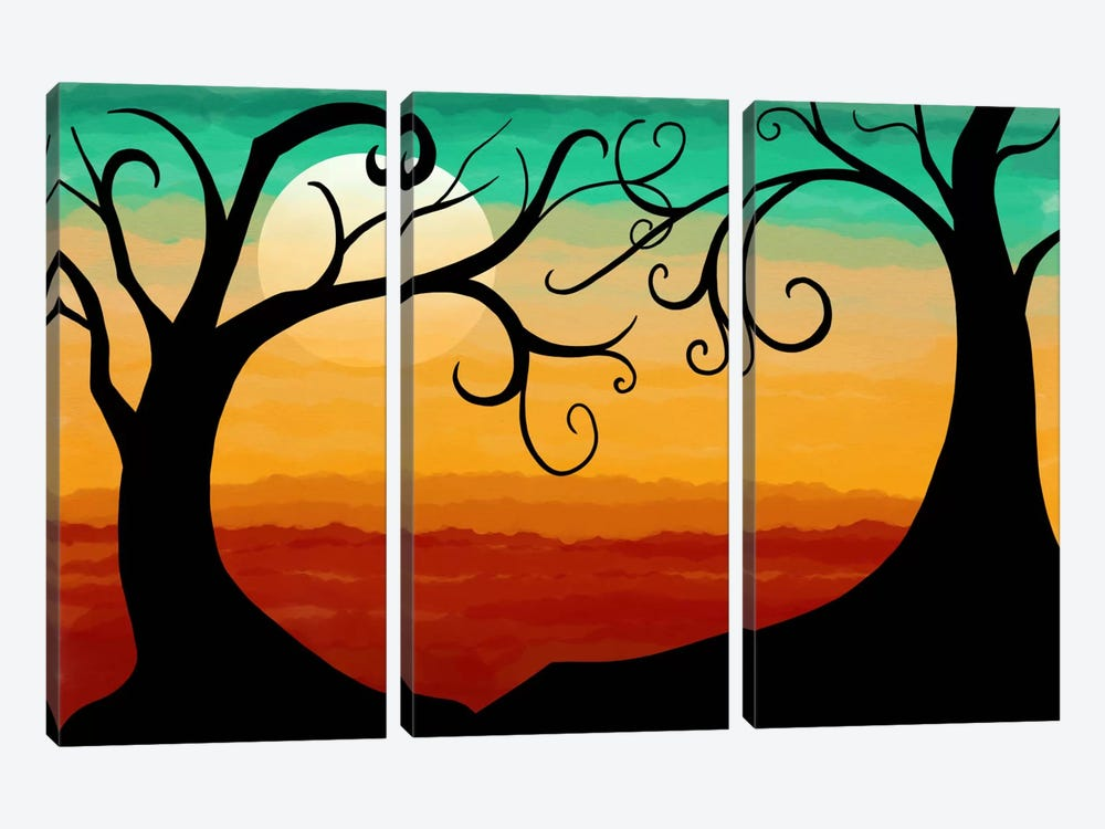 Burning Sunset by iCanvas 3-piece Canvas Wall Art