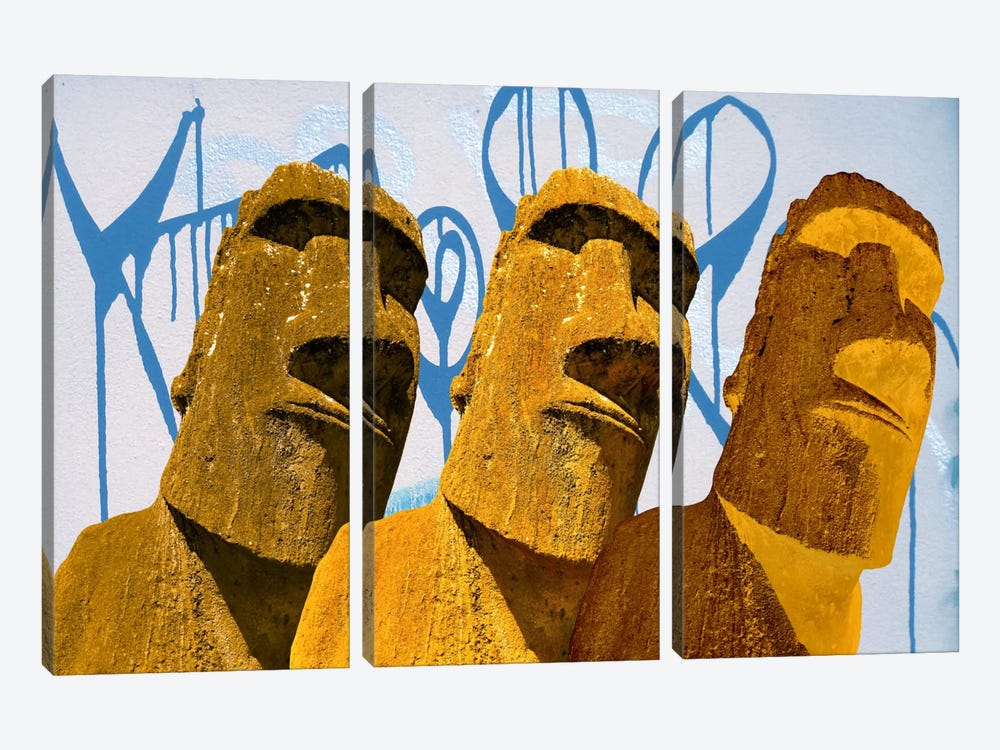 Maoi Graffiti Art by iCanvas 3-piece Canvas Artwork