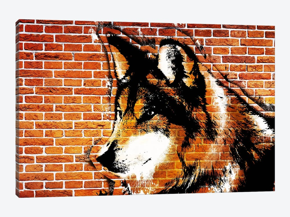 Lone Wolf Stencil by 5by5collective 1-piece Canvas Art Print
