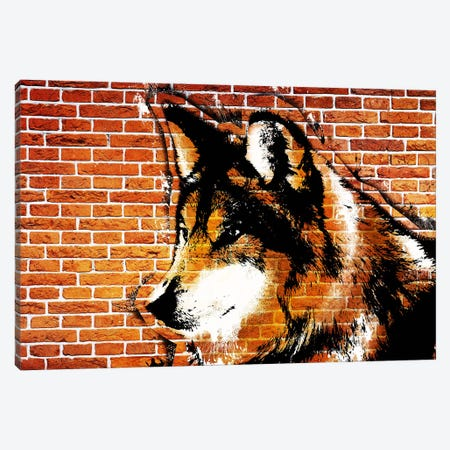 Lone Wolf Stencil Canvas Print #ICA36} by 5by5collective Art Print