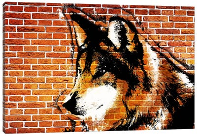 Lone Wolf Stencil Canvas Art Print