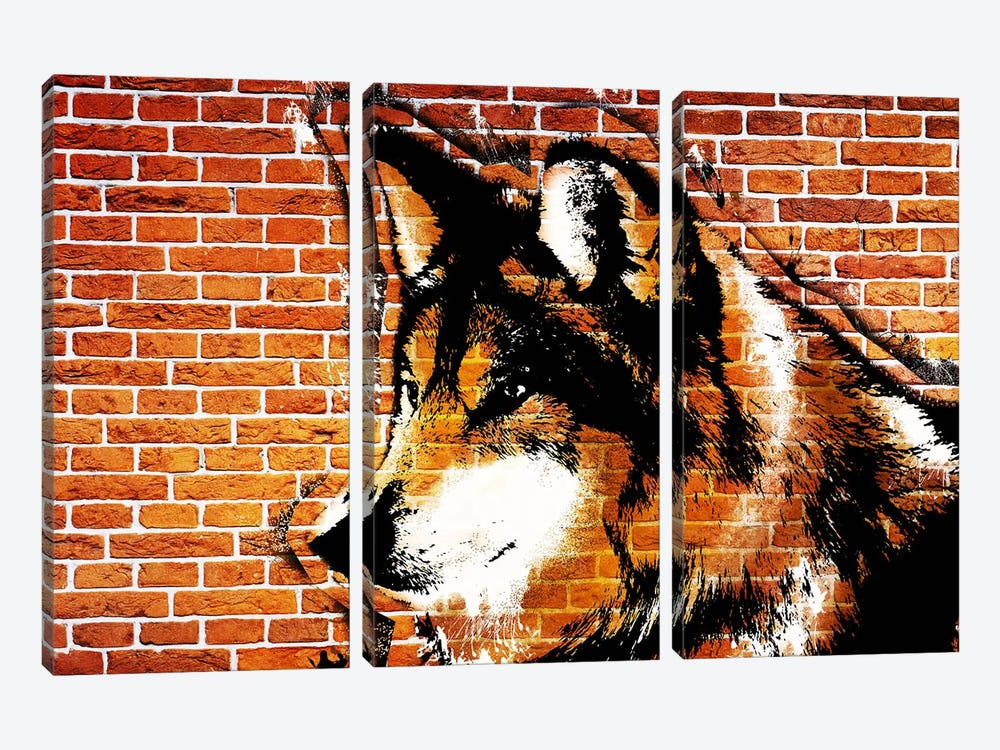 Lone Wolf Stencil by 5by5collective 3-piece Art Print